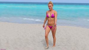 Hayden Panettiere - Purple Bikini on Beach Wallpaper 1x